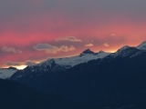 Sunset Glowing behind the Mountains