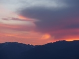 Pink Sunset behind the Mountains